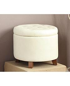 Faux Leather Round Ottoman, White