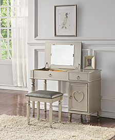 Kids' Vanity Set with Stool, Silver-Tone