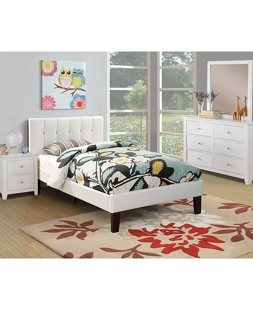 Poundex Twin Bed with Faux Leather Frame