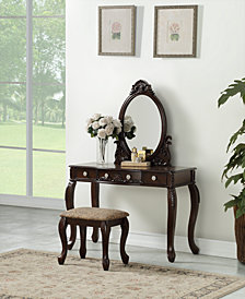 Vanity Set with Stool, Dark Brown