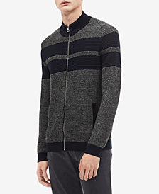 Calvin Klein Men's Textured Stripe Full-Zip Cardigan