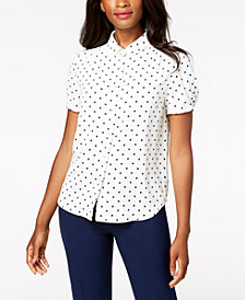 Anne Klein Dot-Print Blouse, Created for Macy's