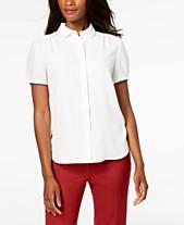 6977e7e910198 Anne Klein Shirred Button-Front Blouse