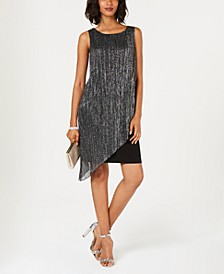 Crinkled Metallic Flyaway Dress