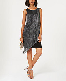 Connected Crinkled Metallic Flyaway Dress