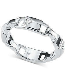 Michael Kors Women's Mercer Link Sterling Silver Padlock Ring