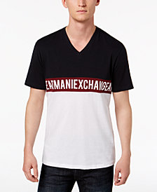 A|X Armani Exchange Men's Colorblocked Logo Graphic V-Neck T-Shirt