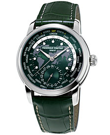Frederique Constant Men's Swiss Automatic Worldtimer Manufacture Green Alligator Leather Strap Watch 42mm