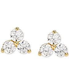 Women's Sterling Silver Cubic Zirconia Cluster Studs