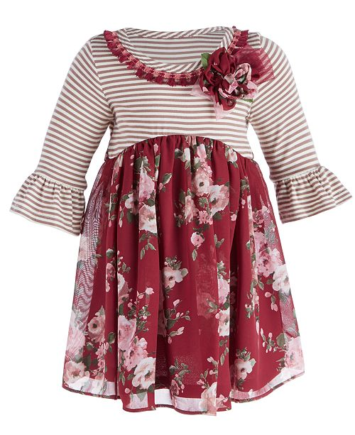 e763eb36d15 Bonnie Baby Baby Girls Striped Floral Dress   Reviews - Dresses ...