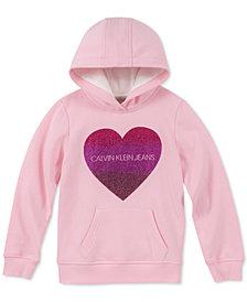 Calvin Klein Big Girls Sparkle Heart Hoodie