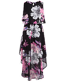Sequin Hearts Big Girls Floral-Print Popover Maxi Dress