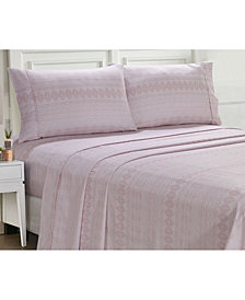 Ellen Tracy Microfiber King Solid and Print Sheet Set