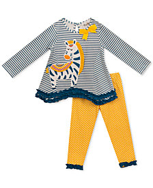 Rare Editions Baby Girls 2-Pc. Striped Tunic & Leggings Set