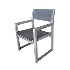 Courtyard Casual Driftwood Teak Contemporary Bay Side Outdoor Sling Dining Chair