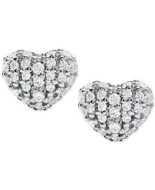 Women's Kors Love Pavé Heart Sterling Silver Stud Earrings