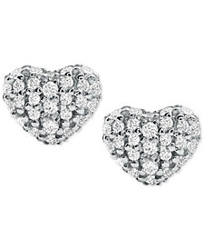 Michael Kors Women's Kors Love Pavé Heart Sterling Silver Stud Earrings