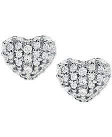 Michael Kors Women's Kors Love Pavé Heart Sterling Silver Stud Earrings