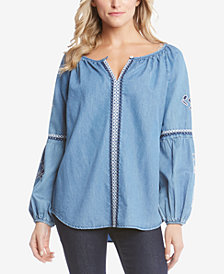 Karen Kane Cotton Denim Embroidered Top