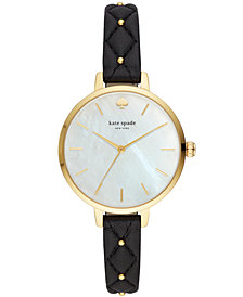 kate spade new york Women's Metro Quilted Black Leather Strap Watch 34mm