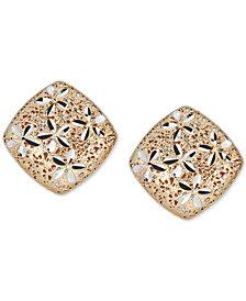 Two-Tone Flower Filigree Stud Earrings in 14k Gold & White Gold