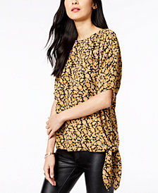 MICHAEL Michael Kors Printed Side-Tie Top