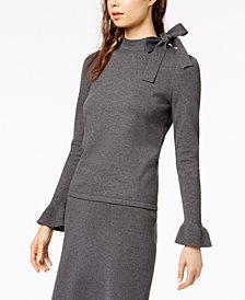 Bar III Tie-Neck Sweater Top, Created for Macy's