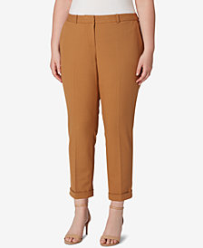 Tahari ASL Plus Size Cropped Cuffed Pants
