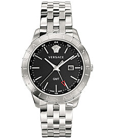 Versace Men's Swiss Business Slim Stainless Steel Bracelet Watch 43mm