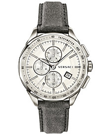 Versace Men's Swiss Chronograph Glaze Gray Vintage Leather Strap Watch 44mm