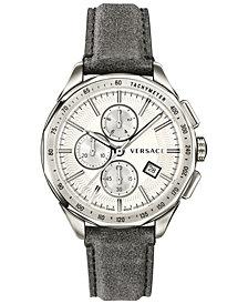 Versace Men's Swiss Chronograph Glaze Gray Vintage Leather Strap Watch 44mm