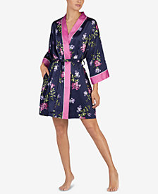 Lauren Ralph Lauren Mixed-Print Satin Short Wrap Robe