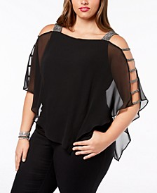 Plus Size Embellished Chiffon Top
