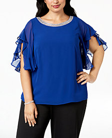 MSK Plus Size Flutter-Sleeve Chiffon Top