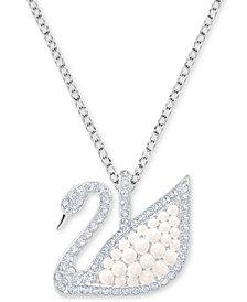 "Swarovski Silver-Tone Pavé & Imitation Pearl 14-3/4"" Pendant Necklace"