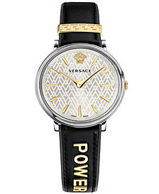 Versace Women's Swiss V-Circle Manifesto Edition Black Leather Strap Watch 38mm