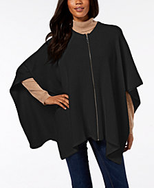 DKNY Ribbed-Knit Zip Poncho, Created for Macy's