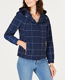 Charter Club Petite Plaid Water-Resistant Jacket, Created for Macy's