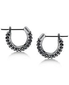 Swarovski Silver-Tone Pavé Hoop Earrings