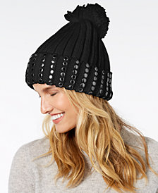 DKNY Studded Ribbed-Knit Cuff Beanie