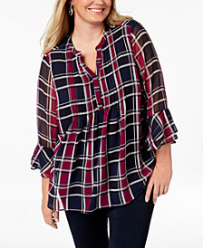 Charter Club Plus Size Pintuck Plaid Top, Created for Macy's