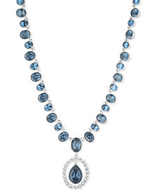 """Givenchy Crystal & Stone Pendant Necklace, 16"""" + 3"""" extender"""