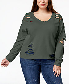 Say What? Trendy Plus Size Destructed Sweatshirt