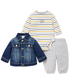 Little Me Baby Boys 3-Pc. Denim Jacket, Bodysuit & Pants Set