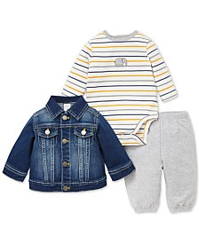 Little Me Baby Boys 3-Pc. Denim Jacket, Bodysuit & Pants Set