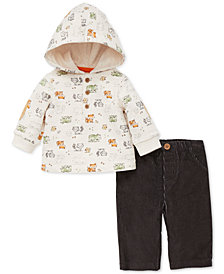 Little Me Baby Boys 2-Pc. Woodland-Print Hoodie & Corduroy Pants Set