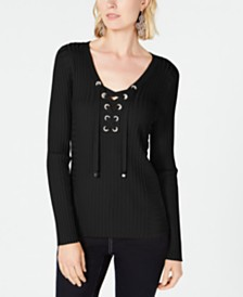 I.N.C. Ribbed Rhinestone Grommet Sweater, Created for Macy's