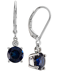 Lab-Created Sapphire (2-7/8 ct. t.w.) & White Sapphire Accent Drop Earrings in Sterling Silver (Also Available in Lab-Created Emerald & Ruby)