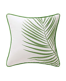 """Oceanfront Resort Coco Paradise 16"""" x 16"""" Embroidered Palm Decorative Pillow"""