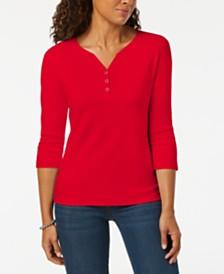 Karen Scott Petite Cotton Henley Shirt, Created for Macy's
